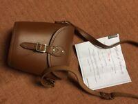 Zatchels satchel with tag/certificate, new handbag, cross body tan colour