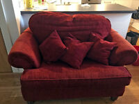Small Sofa/Love Seat for Sale - Red Fabric inc. matching cushions, Very Comfortable!