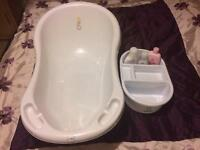 Baby bath, top n tail bowl and 3 baby products