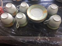 Green and golden cup and saucer set 6x