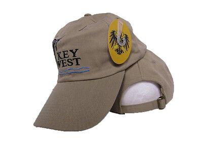 Khaki Beige Key West Conch Republic Blue Marlin Washed Style Hat Cap