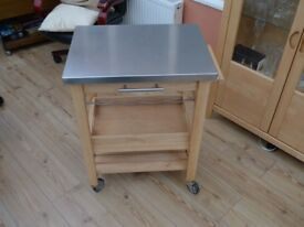 Kitchen Trolley with tray, wine rack and metal top