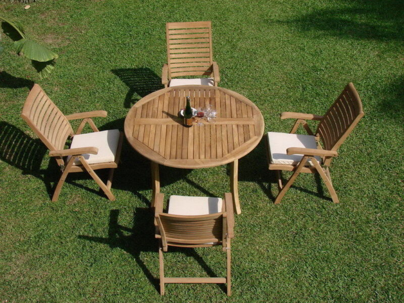 """5-piece Outdoor Teak Dining Set: 48"""" Round Table, 4 Reclining Arm Chairs Ash"""