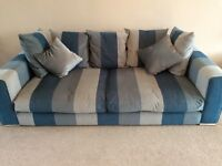 Large 4 seater blue & grey striped pillow back sofa