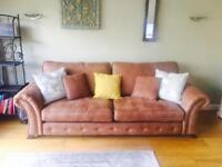 Brown formal back 4 seater sofa