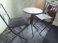 Round Garden Patio Table and Two Folding Chairs