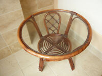 SMALL WICKER STYLE WOOD AND GLASS CONSERVATORY TABLE