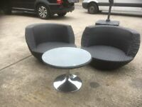 2 RATTAN TUB CHAIRS AND ROUND TABLE