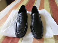 """Men's shoes - Loake Lifestyle Octavius Black """"croc"""" Print leather size 8 1/2"""
