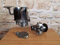 Metal cat wine bottle holder