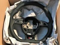 Audi Flat Bottom S-Line Multi-Function Steering Wheel with White Stitching 8V0419091H