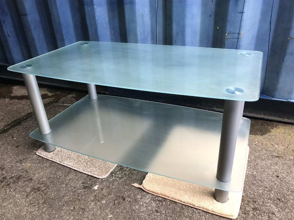 Frosted glass Tv stand FREE DELIVERY PLYMOUTH AREA