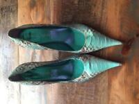 Mode in Pelle Snake Skin High Heeled Shoes