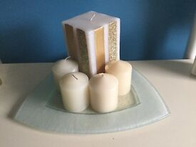 Decorative Glass Plate with candles