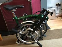 Brompton H3L +8 , 2015 , used 5 times, 10 miles. Racing green/black, mudguards , Dynamo lights.