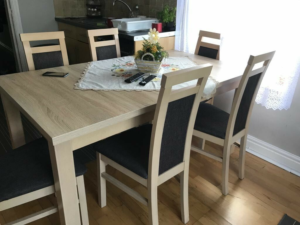 Dining set table and chairsin Cardiff City Centre, CardiffGumtree - Just 2 month old dining set. Have to sell because weve moved to a smaller flat. Table extends to 2 meters. 6 persons seating Excellent condition Selling for £200