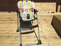 Chicco spotty reclining highchair