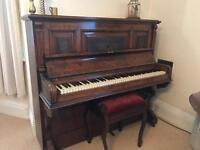 Broadwood White & Co upright piano with stool