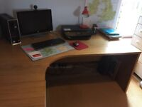 Solid oak office desk, drawers with filing drawer and matching large cabinet.