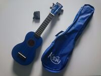 Blue Ukulele with bag & electronic tuner