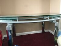 Glass extending dining table and 4 chairs
