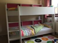 "Childrens Bunk Beds - Parisot ""TAM TAM"" - Unisex Pink / Blue Backboard - Mattresses Included"