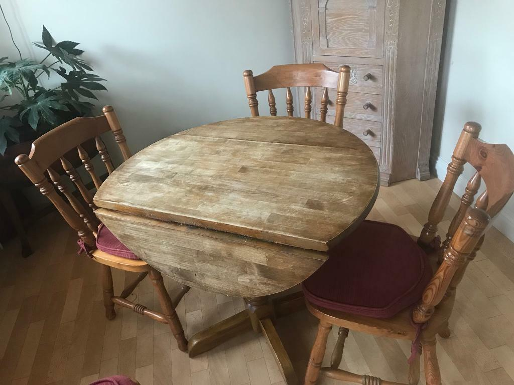 Round wood table and chairs