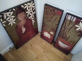 Large buddha painting trio