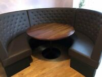 Restaurant bench seating with round wooden table. (Restaurant furniture) Seats upto 6 to 8 people.
