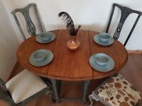 Rustic oak vintage drop leaf table & 4 Queen Anne style chairs. Shabby chic boho. LOCAL DELIVERY.