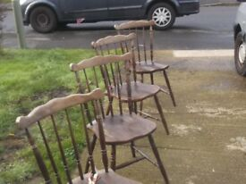set of 4 antique style oak dining chairs, need restain or painting hence £33 buys