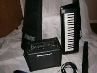 Korg Keytar with carry case, Blackstar sub, Fender cable