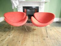 A Pair of Pierre Paulin Orange Slice Chairs For Artifort design