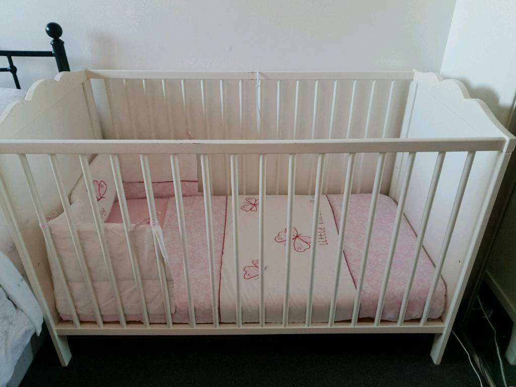 Ikea Hensvik White Cot With Mattress Bedding