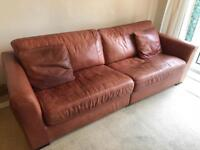 3 brown leather sofas