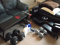 Exercise Equipment (Leg stretcher, bench, dumbbells, pedal machine)