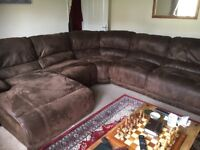 Large corner sofa with two recliners