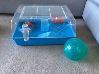 Hamster cage with accessories, ball, wheel, food bowl, 2 available