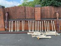 Victorian mahogany stairway set. 2 Newels, 44 spindles.