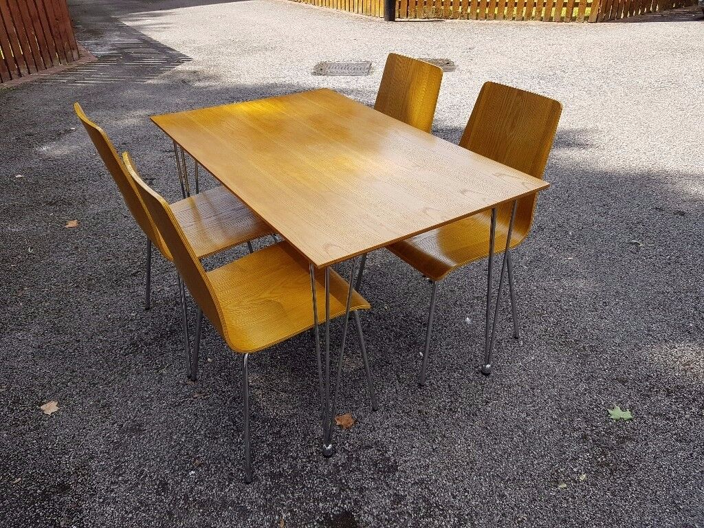 John Lewis Oak & Chrome Table & 4