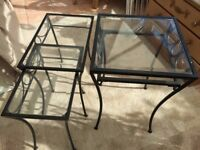 3 X glass & wrought iron tables
