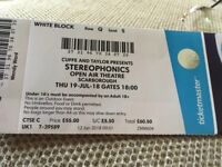 Stereophonics ticket, Scarborough Open Air Theatre, seated in White block (centre block) row Q,