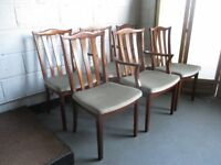 SET OF SIX G PLAN DINING CHAIRS FOUR CHAIRS AND TWO CARVERS FREE DELIVERY