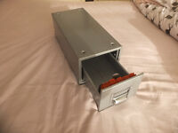 Card Index Drawer – Metal – Vintage – 30x14.5x10.5cm Approx. - Card size 10x6cm Approx