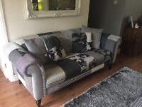 Grey DFS sofa and armchair