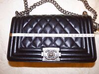 ladies chanel le boy leather medium size with silver chain brand new bag
