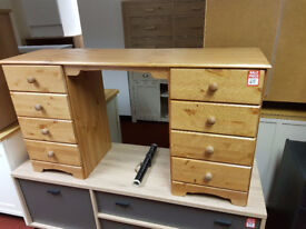 Nordic 8 Drawer Dressing Table and Stool - Pine
