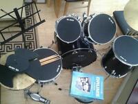 Tornado by mapex drum kit plus vic firth mute set