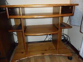Solid Honey Pine Wood Computer Desk Workstation On Wheels