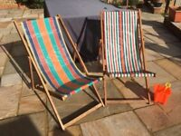 Two Vintage Deckchairs - Folding and in great condition considering age